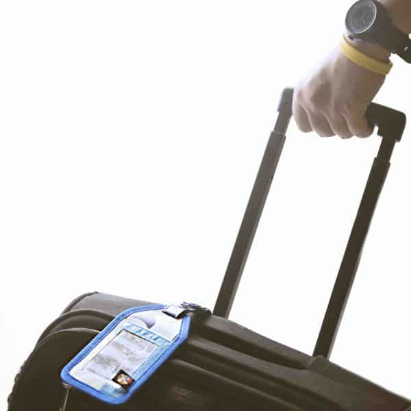 XSProject luggage tag on a suitcase