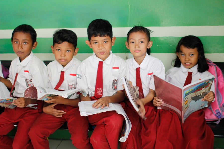 Children sponsored by XSProject at school
