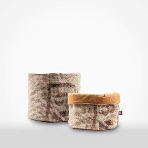 Bread basket by XSProject made from recycled coffee bean sackc